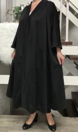 Lotte oversized A-lijn jersey blazer/jas  (extra groot)  apart zwart