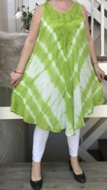 Franka viscose geverfde asymmetrisch A-lijn jurk