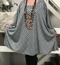 Franka oversized jersey A-lijn tuniek/ jurk met zakken apart stretch  (extra groot)grijs/groen/zwart