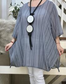 SINNE design.. A-lijn chiffon tuniek blouse donkerblauw/wit