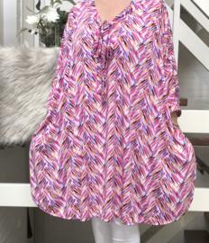 Gabriela oversized A-lijn tuniek/jurk met hals strik en met zakken apart (extra groot) stretch
