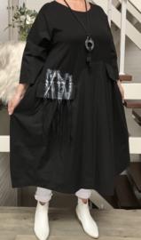 Zedd Plus lange A-lijn  jurk met ketting zwart stretch