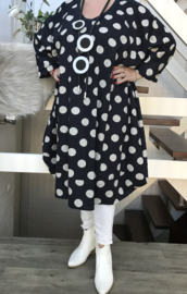 Alexa oversized A-lijn katoen/linnen jurk met zakken apart (extra groot)donkerblauw stretch