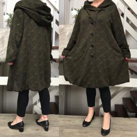 New Jersey  A-lijn jas/mantel met capuchon /gevoerd stretch legergroen