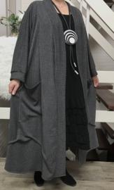 Stephanie oversized A-lijn jersey blazer/jas  (extra groot)  apart donkergrijs met glitterdraad