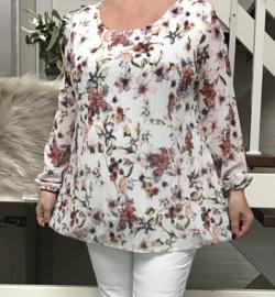 ITALIA MODE viscose A-lijn plissé blouse  gevoerd