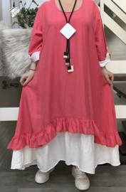 SINNE design.. A- lijn viscose jurk met imitatie onderjurk/koraal/wit