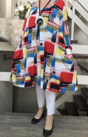 Sophie oversized katoen jersey A-lijn jurk/tuniek met zakken apart stretch  (extra groot)stretch