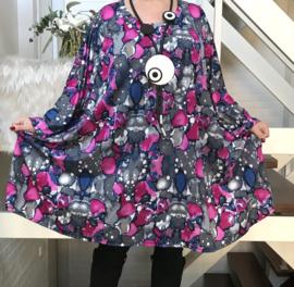 Holly oversized jersey A-lijn tuniek/ jurk met zakken apart stretch(extra groot)