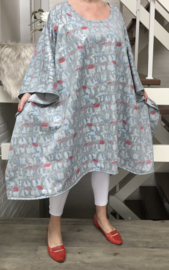 Lilian oversized jersey katoen tuniek/poncho apart (extra groot)