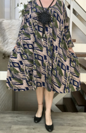 Miranda oversized katoen jersey A-lijn jurk/tuniek met zakken apart stretch  (extra groot)stretch