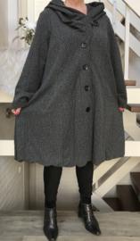 New Jersey  A-lijn jas/mantel met capuchon /gevoerd stretch donkergrijs
