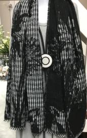 Italia super zacht winter viscose/wol dubbelzijdig sjaal zwart/wit