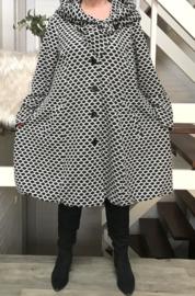New Jersey  A-lijn jas/mantel met capuchon /gevoerd stretch grijs/zwart