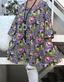 Clarissa oversized A-lijn katoen jersey tuniek met zakken apart (extra groot)