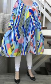 Lia oversized A-lijn tuniek/jurk met zakken apart (extra groot) stretch