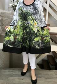 Dorotea oversized jersey A-lijn jurk/tuniek met zakken apart stretch  (extra groot)
