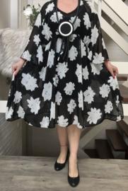 Anastasia  oversized A-lijn chiffon jurk  met zakken  apart (extra groot)