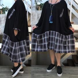 Luna oversized viscose jersey A-lijn jurk/tuniek met zakken apart(extra groot)stretch