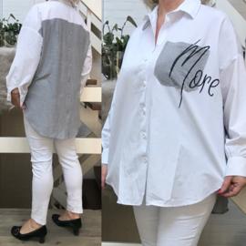 ITALIA oversized katoen blouse/hemd met inzet van tricot