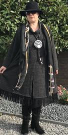 ITALY   gebreide jurk/vest  (extra groot) met franjes