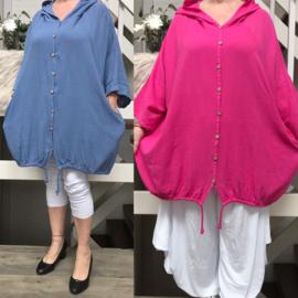 ITALIA  oversized katoen vest/blazer  mat capuchon/in meerdere kleuren