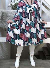 Chiara  oversized jersey A-lijn jurk/tuniek met zakken apart stretch  (extra groot)