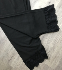 Moonshine katoen legging met KANT zwart