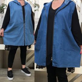 ITALIA katoen jeans  vest/gilet met capuchon en ritssluiting  stretch /in meerdere kleuren