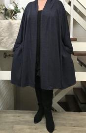 Ninka oversized A-lijn jersey blazer/vest  (extra groot)  apart stretch donkerblauw