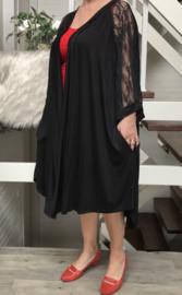 Ariane oversized A-lijn jersey blazer/jas met zakken en kanten inzet  (extra groot)  apart