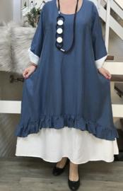 SINNE design.. A- lijn viscose jurk met imitatie onderjurk/blauw/wit