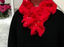 ITALIA zachte winter kraag - sjaal van imitatie bont rood