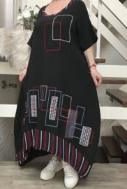 CLEANSON viscose A-lijn jurk  stretch