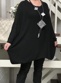 ITALIA katoen oversized gebreide top zwart