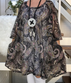 Daryl oversized A-lijn KANTEN jurk/tuniek apart (extra groot) stretch