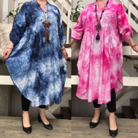 ITALIA de modieuze kleuring oversized katoen A-lijn jurk/in meerdere kleuren