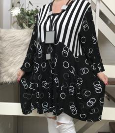 New Jersey viscose A-lijn tuniek/jurk met zakken zwart/wit