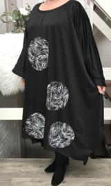 Carmen oversized A-lijn viscose jurk apart (extra groot)stretch zwart