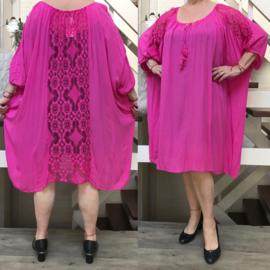ITALIA viscose jurk /tuniek met KANT(extra groot) /in meerdere kleuren