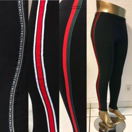 ITALIA  slim sportieve legging met bies THERMO /in meerdere kleuren bies