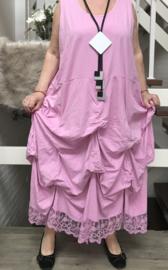 Moonshine katoen jersey A-lijn jurk met verstelbare plooien en inzet van kANT /in meerdere kleuren