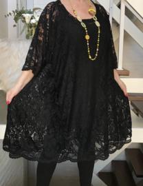 Louisa oversized A-lijn KANTEN jurk/tuniek apart (extra groot) stretch