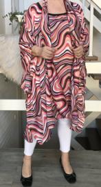 Leslie oversized silky satin tuniek/poncho met sjaal apart (extra groot)