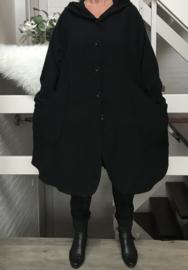 Moonshine  A-Lijn A-lijn tussenjas/mantel  met capuchon zwart
