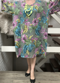 ITALIA MODA  linnen  A-lijn jurk met zakken  (extra groot) /in meerdere kleuren