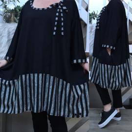 Eleanor oversized A-lijn viscose  jersey tuniek met zakken apart (extra groot)stretch zwart/grijs