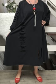 Stella oversized A-lijn viscose jurk apart (extra groot)stretch zwart