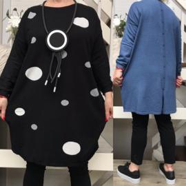 ITALIA oversized gebreide tuniek met imitatie knoopsluiting achter  / in meerdere kleuren