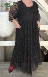Sofie oversized A-lijn viscose kanten stretch jurk apart (extra groot) zwart